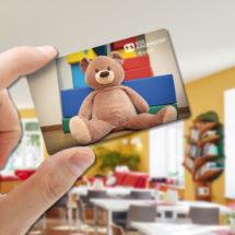 Rabattkarte vom SOS-Kinderdorf Zentrum Bremen mit Teddybär als Aufdruck