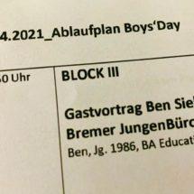 Ausschnitt vom Ablaufplan vom Boysday 2021